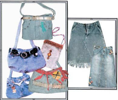 Recycle Old Jeans. FREE instructions PLUS fringed trim. You pay shipping/ handling of